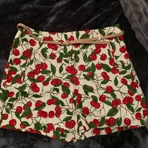 Zara high Waisted Cherry Print Shorts